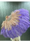 """Mix aqua violet & beige wood2 layers Ostrich Feather Fan  30""""x 54"""" with leather travel Bag"""