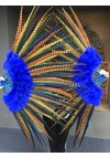 "mix color  Marabou and Pheasant Feather Fan 29""x 53"" with Travel leather Bag"