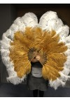 Mix topaz and whiteLarge XL 2 Layer Ostrich Feather Fan 34''x 60'' with Travel leather Bag
