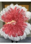 Mix Burgundy & Gray Large XL 2 Layer Ostrich Feather Fan 34''x 60'' with Travel leather Bag