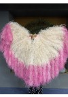 "Bulsh tips dyeing Fuchsia Waterfall Fan Fluffy Ostrich Feathers Boa Fan 42""x 78"""