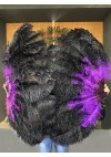 "Mix black & Dark purple 2 layers Ostrich Feather Fan  30""x 54"" with leather travel Bag"