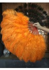 "Orange Marabou Ostrich Feather fan  21""x 38"" with Travel leather Bag"