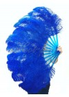 """Royal blue single layer Ostrich Feather Fan 25""""x 45"""" with leather travel Bag"""