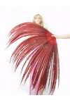 "Red Luxury 71"" Tall huge Pheasant Feather Fan  Burlesque Perform Friend"