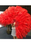 """Red XL 2 layers Ostrich Feather Fan Burlesque dancer friends 34""""x 60"""" with leather travel Bag"""