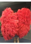 Red Luxury 4 Layers  Ostrich Feather Fan fluffy with Boa Opened 67'' Burlesque