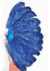 "royal blue 2 layers Ostrich Feather Fan Burlesque dancer friends 30""x 54"" with leather travel Bag"