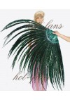 "Forest Green Luxury 71"" Tall huge Pheasant Feather Fan  Burlesque Perform Friend"