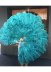 "teal 2 layers Ostrich Feather Fan Burlesque dancer friends 30""x 54"" with leather travel Bag"