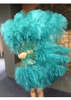"""A pair teal Single layer Ostrich Feather fan 24""""x 41"""" with leather travel Bag"""