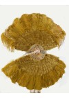 """Topaz Ostrich & Marabou Feathers fan 27""""x 53"""" with Travel leather Bag"""