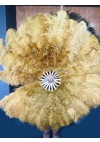 "Topaz Ostrich & Marabou Feathers fan 27""x 53"" with Travel leather Bag"