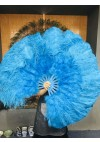 "turquoise Ostrich & Marabou Feathers fan 27""x 53"" with Travel leather Bag"