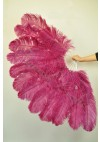"Fuchsia XL 2 layers Ostrich Feather Fan Burlesque dancer friends 34""x 60"" with leather travel Bag"