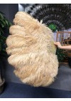 "Wheat 2 layers Ostrich Feather Fan Burlesque dancer friends 30""x 54"" with leather travel Bag"