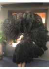 "Black XL 2 layers Ostrich Feather Fan Burlesque dancer friends 34""x 60"" with leather travel Bag"