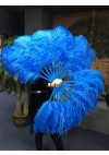 "A pair Blue Single layer Ostrich Feather fan 24""x 41"" with leather travel Bag"