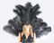 Black  Open Face Ostrich Feather Headdress Backpiece Set